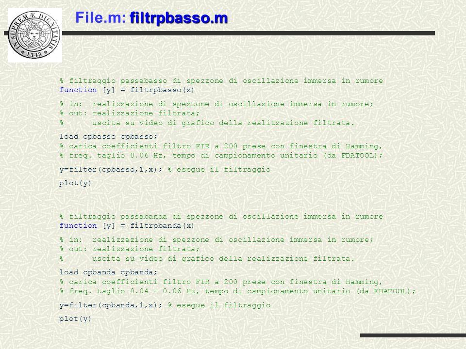 File.m: filtrpbasso.m % filtraggio passabasso di spezzone di oscillazione immersa in rumore function [y] = filtrpbasso(x)